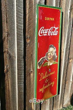 Vintage 1940's Drink Coca Cola Metal Sign Delicious & refreshing Pretty Lady