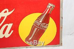 Vintage 1940's Drink Coca Cola Soda Pop Bottle Gas Station 34 Metal Sign