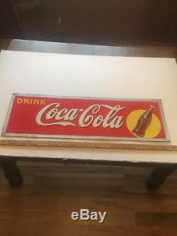 Vintage 1940s Coca Cola Embossed Metal Sign