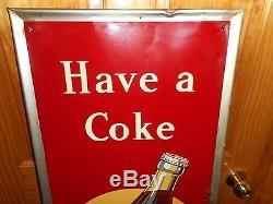 Vintage 1940s HAVE A COKE COCA COLA 5 Cent Metal Advertising VERTICAL SODA SIGN
