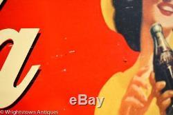 Vintage 1941 Coca Cola COKE Soda Pop Gas Station 34 Metal Sign