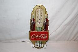 Vintage 1941 Coca Cola Soda Pop Bottle 16 Embossed Metal Thermometer SignWorks