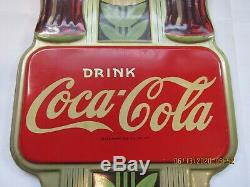 Vintage 1941 Coca-Cola Thermometer Metal Sign 16 x 7 Double Bottle Original