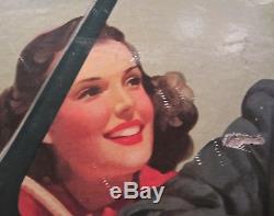 Vintage 1942 COCA-COLA Advertising Cardboard SIGN Original HTF Rare