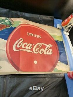 Vintage 1942 Massillon co. Coca Cola Litho Advertising Banner Sign Rhino Fiber