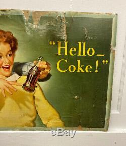 Vintage 1944 Coca-Cola Hello- Coke! Cardboard Sign 20 x 36 Niagara Litho