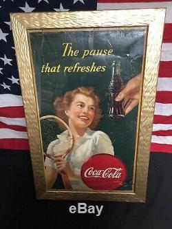 Vintage 1945 Coca-Cola Cardboard Advertising Sign Tennis Girl ORIGINAL