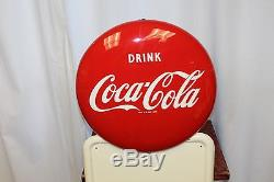 Vintage 1947 Coca Cola Bottle Pilaster Sign with 1951 Coke Button Advertising Sign
