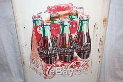 Vintage 1947 Coca Cola Soda Pop 6 Bottle Carton 41 Metal Sign
