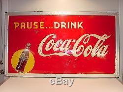 Vintage 1947 Pause Drink Coca-Cola Large 56 x 32 Not Porcelain Embossed Tin Sign