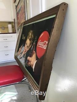 Vintage 1948 Coca-Cola / Coke Cardboard LITHO Display Sign in Original Frame