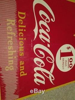 Vintage 1948 Double Sided Coca Cola Tin Sign Near Mint New Old Stock No Reserve