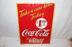 Vintage 1949 Coca Cola Soda Pop $1.00 Take A Case Home Today 26 Metal Sign