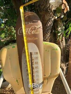 Vintage 1949 Coca-cola cigar thermometer sign of a good taste soda sign works