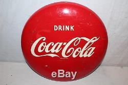 Vintage 1949 Drink Coca Cola Button Soda Pop 16 Metal Sign