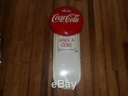 Vintage 1950-60s COCA COLA COKE Advertising Calendar Holder Button Soda SIGN