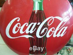 Vintage 1950'S 24 Porcelain Coca Cola Button With Bottle