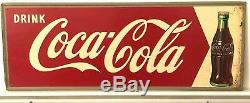 Vintage 1950'S DRINK COCA COLA ARROW TIN SIGN SODA METAL BOTTLE Coke
