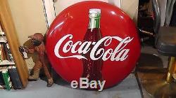 Vintage 1950's Coca-Cola 36 Porcelain Button Sign Coke Soda Ad