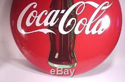 Vintage 1950's Coca-Cola A-M 12-55 Metal Button Sign 24 X 24