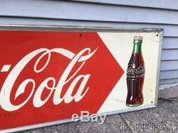 Vintage 1950's Coca Cola Advertising Tin Metal Sign 54 by 18
