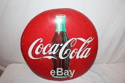 Vintage 1950's Coca Cola Button Soda Pop Bottle 24 Metal Sign