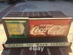Vintage 1950's Coca-Cola Coke Light Up Motion Waterfall Sign Minty