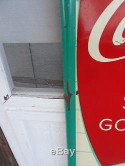 Vintage 1950's Coca Cola Fishtail Sign, SIGN OF GOOD TASTE, original