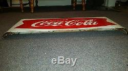 Vintage 1950's Coca-Cola Fishtail Tin / Enamel sign country store soda pop drink