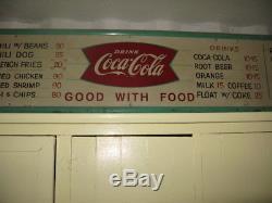 Vintage 1950's Coca Cola Fountain Service Metal 8ft Diner's Menu Sign