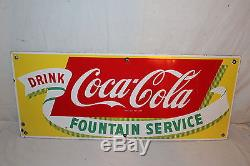 Vintage 1950's Coca Cola Fountain Service Soda Pop 28 Porcelain Metal SignNice