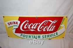 Vintage 1950's Coca Cola Fountain Service Soda Pop 28 Porcelain Metal Sign