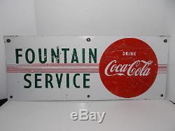 Vintage 1950's Coca Cola Fountain Service Soda Pop 30 Porcelain Metal Sign
