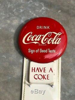 Vintage 1950's Coca Cola Red Button Tin Calendar Sign Sign Of Good Taste