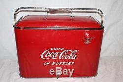 Vintage 1950's Coca Cola Soda Pop Bottle Embossed Metal Picnic Cooler SignNice