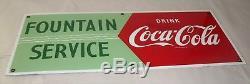Vintage 1950's Coca-cola Fountain Service Porcelain Sign