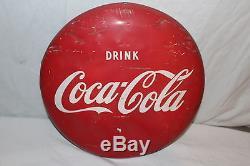 Vintage 1950's Drink Coca Cola Button Soda Pop 16 Metal Sign