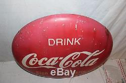 Vintage 1950's Drink Coca Cola Button Soda Pop 24 Metal Sign WithMounting Bracket