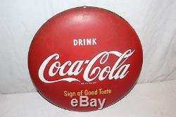 Vintage 1950's Drink Coca Cola Button Soda Pop Gas Station 16 Metal Sign