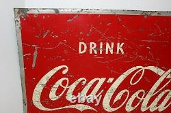 Vintage 1950's Drink Coca-cola Tin Metal Sign Ice Cold 27 Inches X 19 Inches