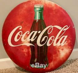 Vintage 1950s 24Round Coca Cola Coke Bottle Metal Advertising Button Sign
