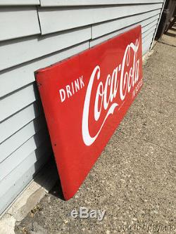 Vintage 1950s 60's Coca-Cola Porcelain Advertising Sign Large 67 by 24 Coke