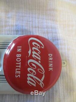 Vintage 1950s Coca Cola 9in. Button Thermometer Metal Coke Sign Working near mint
