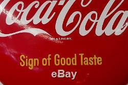 Vintage 1950s Coca Cola Button Sign of Good Taste Diner Menu Sign AM58 Metal
