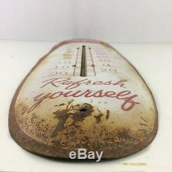Vintage 1950s Coca Cola Soda Pop Metal Cigar Thermometer Sign Advertising Patina