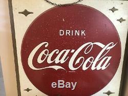 Vintage 1950s Coke Coca Cola Tin Sign 36 X36