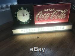 Vintage 1950s Original Drink COCA COLA Advertising LIGHT UP CLOCK