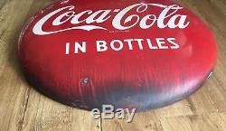 Vintage 1950s Red Porcelain Drink Coca Cola In Bottles Button Sign 24 Coke Soda