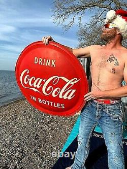 Vintage 1951 Metal Coca Cola Soda Pop 36 inch Button Sign Coke
