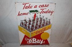 Vintage 1952 Coca Cola Soda Pop Bottle Take A Case Home Today 28 Metal Sign